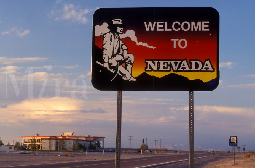 road sign, Nevada, NV, State of Nevada Welcome Sign along Route 373. Welcome to Nevada.