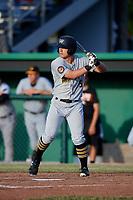 West Virginia Black Bears right fielder Brett Kinneman (5) at bat during a game against the Batavia Muckdogs on June 20, 2018 at Dwyer Stadium in Batavia, New York.  West Virginia defeated Batavia 4-3.  (Mike Janes/Four Seam Images)