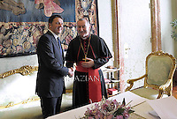 Cardinal Parolin   meets Italian Premier Matteo Renzi and his family during a private audience at the Vatican, on December 13, 2014.