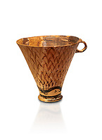 Minoan clay cup decorated with reeds, Zakros Palace  1600-1450 BC; Heraklion Archaeological  Museum, white background.