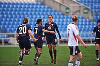 A jubilant Carli Lloyd after scoring a goal. The USA captured the 2010 Algarve Cup title by defeating Germany 3-2, at Estadio Algarve on March 3, 2010.