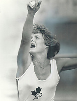1979 FILE PHOTO - ARCHIVES -<br /> <br /> Diane Jones Konihowski put out every ounce of her power in shot put of pentathlon.<br /> <br /> Bezant, Graham<br /> Picture, 1979<br /> <br /> 1979,<br /> <br /> PHOTO : Graham Bezant - Toronto Star Archives - AQP