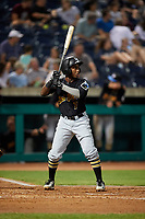 West Virginia Black Bears second baseman Melvin Jimenez (7) at bat during a game against the State College Spikes on August 30, 2018 at Medlar Field at Lubrano Park in State College, Pennsylvania.  West Virginia defeated State College 5-3.  (Mike Janes/Four Seam Images)