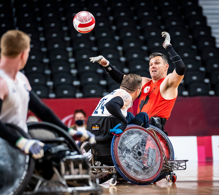 Mike Whitehead, Tokyo 2020 - Wheelchair Rugby // Rugby en fauteuil roulant.<br /> Canada takes on Great Britain in the preliminary round // Le Canada affronte la Grande-Bretagne au tour préliminaire. 25/08/2021.
