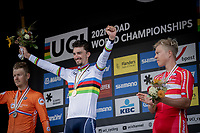 podium:<br /> <br /> 1st place and Rainbow Jersey winner Julian Alaphilippe (FRA/Deceuninck-Quick Step)<br /> 2nd place: Dylan Van Baarle (NED/Ineos Grenadiers)<br /> 3th place: Michael Valgren (DEN/EF Education Nippo), <br /> <br /> Men Elite – Road Race (WC)<br /> Race from Antwerp to Leuven (268.3km)<br /> <br /> ©kramon