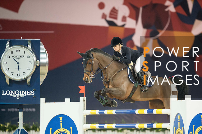 Edwina Tops-Alexander of Australia riding California during the Hong Kong Jockey Club Trophy competition, part of the Longines Masters of Hong Kong on 10 February 2017 at the Asia World Expo in Hong Kong, China. Photo by Juan Serrano / Power Sport Images