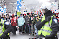 Jan  2012 - Montreal, Quebec,  CANADA - Students demonstration in downtown Montreal to oppose the tuition fee hike imposed by Jean Charest's Liberal government.
