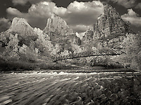 Court of the Patriarchs and Virgin River and fsll color. Zion National Park, Utah