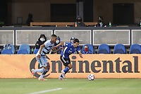SAN JOSE, CA - MAY 22: Shea Salinas #6 of the San Jose Earthquakes during a game between Sporting Kansas City and San Jose Earthquakes at PayPal Park on May 22, 2021 in San Jose, California.