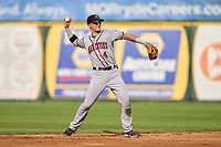 Quad Cities River Bandits second baseman Michael Massey (4) throws to first base during a game against the South Bend Cubs on August 20, 2021 at Four Winds Field in South Bend, Indiana.  (Mike Janes/Four Seam Images)