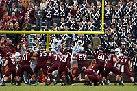 BLACKSBURG, VA - OCTOBER 19: Bryan Johnson #93 of Virginia Tech kicks a field goal during a game between North Carolina and Virginia Tech at Lane Stadium on October 19, 2019 in Blacksburg, Virginia.