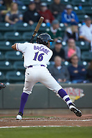 Luis Alexander Basabe (16)  of the Winston-Salem Dash at bat against the Salem Red Sox at BB&T Ballpark on April 21, 2018 in Winston-Salem, North Carolina.  The Dash walked-off the Red Sox 4-3.  (Brian Westerholt/Four Seam Images)