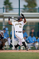 Pittsburgh Pirates Jeremias Portorreal (51) follows through on a swing during an Instructional League game against the Tampa Bay Rays on October 3, 2017 at Pirate City in Bradenton, Florida.  (Mike Janes/Four Seam Images)