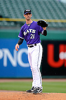 Louisville Bats pitcher Mark Prior #21 in the bullpen warming up during a game against the Indianapolis Indians on April 19, 2013 at Louisville Slugger Field in Louisville, Kentucky.  Indianapolis defeated Louisville 4-1.  (Mike Janes/Four Seam Images)