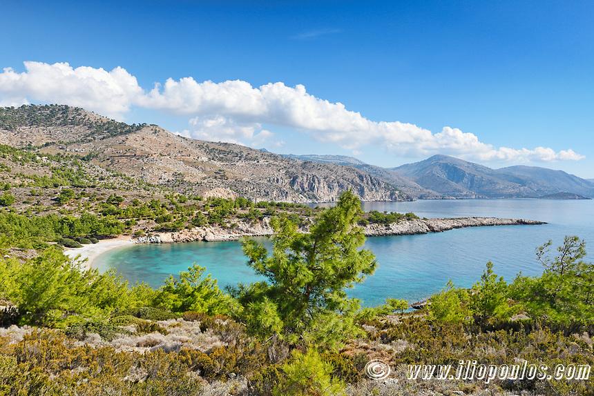 The beach Tigani in Chios island, Greece