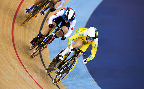03 AUG 2012 - LONDON, GBR - Anna Meares (AUS) (right) of Australia, pursued by Monique Sullivan (CAN) of Canada, sprints for the finish line during the second round heat of the Women's Keirin at the London 2012 Olympic Games track cycling in the Olympic Park Velodrome in Stratford, London, Great Britain .(PHOTO (C) 2012 NIGEL FARROW)
