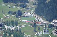 Blick auf das DFB Trainingsgelände in Seefeld von der Rosshütte aus - Seefeld 28.05.2021: Trainingslager der Deutschen Nationalmannschaft zur EM-Vorbereitung