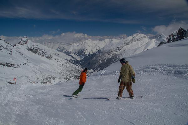 men snowboarding at St Anton, Austria, Europe 2014,