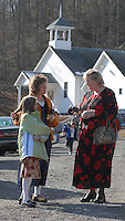 Families stop and talk after services Sunday, Jan. 8, 2006, at the Sago Baptist Church near the mine where 12 miners were killed in an explosion last Monday near Buckhannon, WV. WV.(Photo by Gary Gardiner)<br />