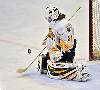 21 February 2009: University of Vermont Catamounts' goaltender Caitlin Whitlock, a Freshman from Westfield, NJ, in action against the University of Maine Black Bears at Gutterson Fieldhouse in Burlington, Vermont. The Catamounts shut out the Black Bears 1-0. Mandatory Photo Credit: Ed Wolfstein Photo
