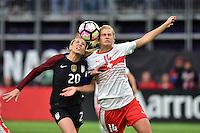 Minneapolis, MN - October 23, 2016: The U.S. Women's National team go down 0-1 versus Switzerland in first half action during an international friendly game at U.S. Bank Stadium.
