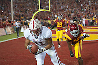 LOS ANGELES, CA - October 29, 2011:  Levine Toilolo catches a touchdown pass in the second overtime of Stanford's  Pac-12 game against the USC Trojans.  Stanford won in triple overtime, 56 -48, and extended its winning streak to 16 games.