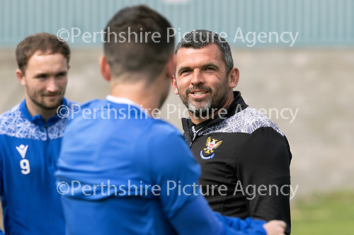 St Johnstone Training…..11.08.20  <br />St Johnstone manager Callum Davidson pictured in training with Michael O'Halloran and Chris Kane at McDiarmid Park ahead of tomorrow night's game at Rangers.<br />Picture by Graeme Hart.<br />Copyright Perthshire Picture Agency<br />Tel: 01738 623350  Mobile: 07990 594431
