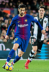 Andre Filipe Tavares Gomes (L) of FC Barcelona is followed by Sasa Lukic of Levante UD during the La Liga 2017-18 match between FC Barcelona and Levante UD at Camp Nou on 07 January 2018 in Barcelona, Spain. Photo by Vicens Gimenez / Power Sport Images