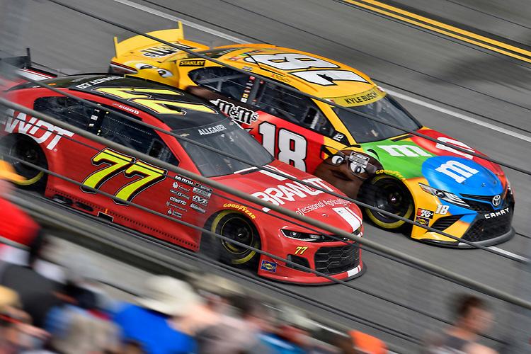 #77: Justin Haley, Spire Motorsports, Chevrolet Camaro BRANDT and #18: Kyle Busch, Joe Gibbs Racing, Toyota Camry M&M's