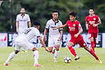 Chun Lok Tan (R) of Wofoo Tai Po fights for the ball with Man Tik Lui (C) and Chi Chung Wong (L) of Dreams FC during the Dreams FC vs Wofoo Tai Po match of the week one Premier League match at the Aberdeen Sports Ground on 26 August 2017 in Hong Kong, China. Photo by Yu Chun Christopher Wong / Power Sport Images