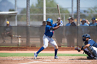Los Angeles Dodgers outfielder Aldrich De Jongh (63) at bat in front of catcher Luis Avalo (97) during an Instructional League game against the Milwaukee Brewers at Maryvale Baseball Park on September 24, 2018 in Phoenix, Arizona. (Zachary Lucy/Four Seam Images)