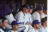 Zack Gray (32) of the High Point Panthers watches the action from the dugout during the game against the NJIT Highlanders at Williard Stadium on February 19, 2017 in High Point, North Carolina. The Panthers defeated the Highlanders 6-5. (Brian Westerholt/Four Seam Images)