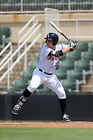 Gavin Sheets (23) of the Kannapolis Intimidators at bat against the Hagerstown Suns at Kannapolis Intimidators Stadium on July 9, 2017 in Kannapolis, North Carolina.  The Intimidators defeated the Suns 3-2 in game one of a double-header.  (Brian Westerholt/Four Seam Images)