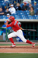 Clearwater Threshers second baseman Drew Stankiewicz (15) follows through on a swing during a game against the Dunedin Blue Jays on April 7, 2017 at Spectrum Field in Clearwater, Florida.  Dunedin defeated Clearwater 7-4.  (Mike Janes/Four Seam Images)