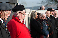 Pictured: Ex servicemen and members of the public during the service Friday 11 November 2016<br /> Re: Remembrance Day service at the Cenotaph in Swansea, south Wales, UK.