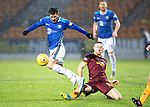 St Johnstone v Motherwell…15.12.18…   McDiarmid Park    SPFL<br />Matty Kennedy is clipped by Allan Campbell<br />Picture by Graeme Hart. <br />Copyright Perthshire Picture Agency<br />Tel: 01738 623350  Mobile: 07990 594431
