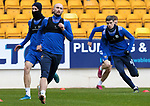 St Johnstone Training...14.05.21<br />Striker Chris Kane pictured during training with Shaun Rooney and Chrlie Gilmour at McDiarmid Park this morning ahead of tomorrows final league game of the season against Livingston.<br />Picture by Graeme Hart.<br />Copyright Perthshire Picture Agency<br />Tel: 01738 623350  Mobile: 07990 594431