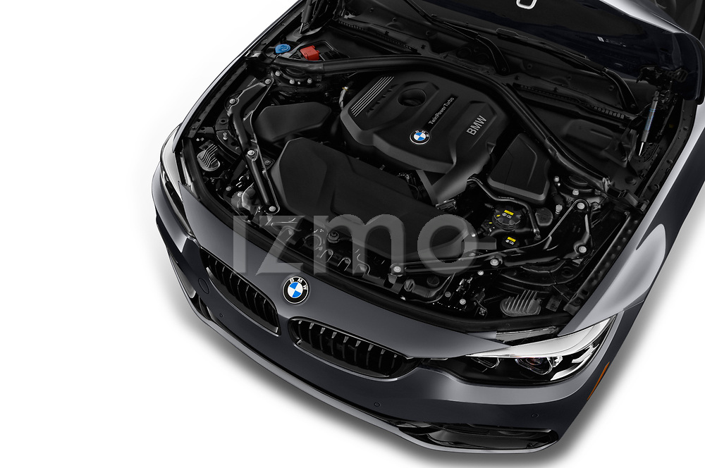 Car stock 2020 BMW 4 Series 430i 2 Door Convertible engine high angle detail view