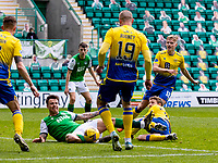 1st May 2021; Easter Road, Edinburgh, Scotland; Scottish Premiership Football, Hibernian versus St Johnstone;  Melker Hallberg of Hibernian is fouled by David Wotherspoon of St Johnstone in the box but no penalty is given