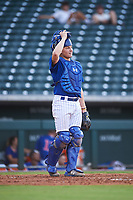 AZL Cubs 1 catcher Ethan Hearn (9) during an Arizona League game against the AZL D-backs on July 25, 2019 at Sloan Park in Mesa, Arizona. The AZL D-backs defeated the AZL Cubs 1 3-2. (Zachary Lucy/Four Seam Images)
