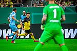 09.08.2019, Merkur Spiel-Arena, Düsseldorf, GER, DFB Pokal, 1. Hauptrunde, KFC Uerdingen vs Borussia Dortmund , DFB REGULATIONS PROHIBIT ANY USE OF PHOTOGRAPHS AS IMAGE SEQUENCES AND/OR QUASI-VIDEO<br /> <br /> im Bild | picture shows:<br /> Nico Schulz (Borussia Dortmund #14) im Duell mit Kevin Grosskreutz (KFC Uerdingen #6), <br /> <br /> Foto © nordphoto / Rauch