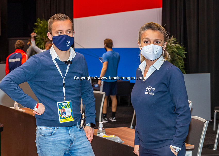 Den Bosch, The Netherlands, April 17, 2021,    Maaspoort, Billie Jean King Cup  Netherlands -  China , Maria supervisor ITF and Lars<br /> Photo: Tennisimages/Henk Koster
