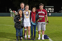 STANFORD, CA - October 21, 2012: Nina Watkins with her family during the Senior Day celebration after the Stanford vs Washington women's soccer match in Stanford, California.  Stanford won 3-0.