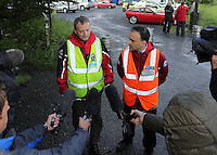 Pictured L-R: Andrew Evans of West Brecon Mountain Rescue Team and Richard Tyrrel of Central Beacons Mountain Rescue Team give a short press conference at Tafarn Y Garreg, Powys, Wales UK. Wednesday 29 June 2016<br />Re: Rescuers have found a number of the 24 children who went missing the Brecon Beacons.<br />Dyfed-Powys Police said a Coastguard helicopter had found some the children, who are from St Albans, Hertfordshire.<br />The helicopter has landed and the crew are with the children, but their condition is not known.<br />The alarm was raised at about 13:00 BST after the groups went missing around Llyn y Fan Fach, near Abercraf.<br />The children are in their mid teens and were on the beacons as part of their Duke of Edinburgh Award.<br />Mark Moran from Central Beacons Mountain Rescue said his team had been in intermittent phone contact with the four groups of six children before the first group were found.