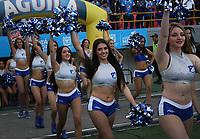 BOGOTÁ - COLOMBIA, 09-03-2019:Porristas de Millonarios durante el encuentro contra el Atletico Nacional partido por la fecha 9 de la Liga Águila I 2019 jugado en el estadio Nemesio Camacho El Campín de la ciudad de Bogotá. /Cheerleaders of Millonarios agaisnt of Atletico Nacional  during the match for the date 9 of the Liga Aguila I 2019 played at the Nemesio Camacho El Campin Stadium in Bogota city. Photo: VizzorImage / Felipe Caicedo / Staff.