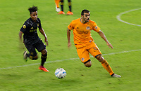 CARSON, CA - OCTOBER 28: Víctor Cabrera #36 of the Houston Dynamo moves with the ball during a game between Houston Dynamo and Los Angeles FC at Banc of California Stadium on October 28, 2020 in Carson, California.