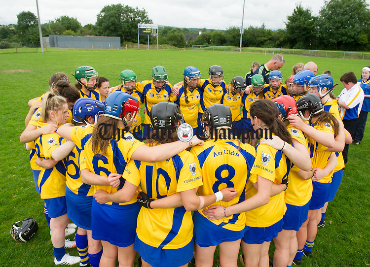 The Clare team huddle before their Senior Championship game against Tipperary at Sixmilebridge. Photograph by John Kelly.