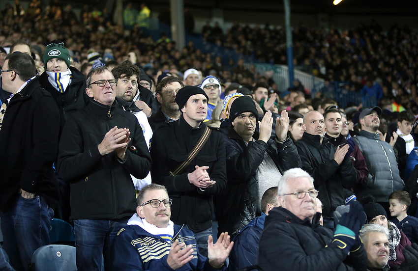 Leeds United fans enjoy the second half action<br /> <br /> Photographer Rich Linley/CameraSport<br /> <br /> The EFL Sky Bet Championship - Leeds United v Reading - Tuesday 27th November 2018 - Elland Road - Leeds<br /> <br /> World Copyright © 2018 CameraSport. All rights reserved. 43 Linden Ave. Countesthorpe. Leicester. England. LE8 5PG - Tel: +44 (0) 116 277 4147 - admin@camerasport.com - www.camerasport.com