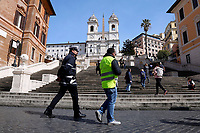 Spanish steps empty<br /> Rome March 10th 2020. Rome the day after the last Minister Council's decree, that extends the restrictions from North of Italy to the entire country to contain Covid-19 Virus. All the shops (restaurants, pubs, and even supermarkets) will have to close at 6 pm. Gathering of people will be forbitten and people will have to maintain the 1 meter security distance. Citizens are furthermore invited to stay at home with the exception of people who have to go to work, to the pharmacy or to the supermarket.<br /> Photo Samantha Zucchi Insidefoto