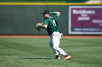 Great Lakes Loons second baseman Jacob Amaya (15) throws to first base during a Midwest League game against the Wisconsin Timber Rattlers at Dow Diamond on May 4, 2019 in Midland, Michigan. Great Lakes defeated Wisconsin 5-1. (Zachary Lucy/Four Seam Images)